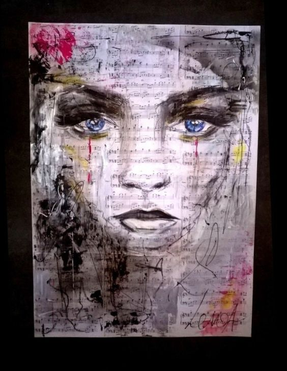 tableau peinture partition portrait moderne contemporain m lodya peinture pinterest portrait. Black Bedroom Furniture Sets. Home Design Ideas