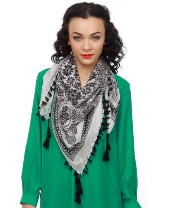 Seraphina Black and White Silk Scarf