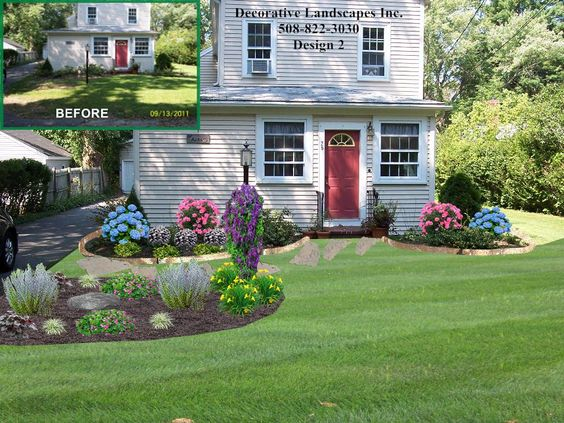 front yard cottage style landscape design with island bed