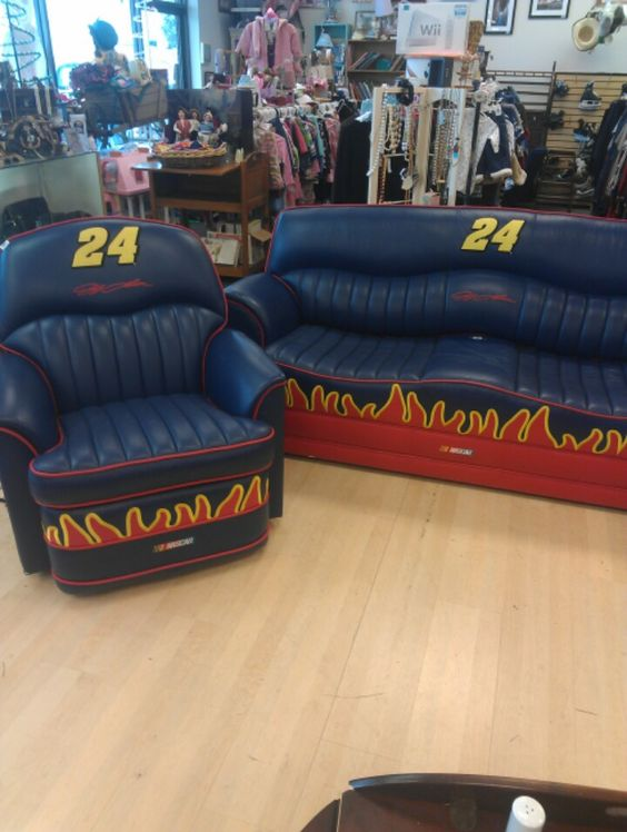 Man Cave Consignment Store : Jeff gordon leather sofa and recliner perfect for a