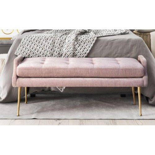 Blush Dusty Pink Velvet Bench Gold Legs Luxurious Bedrooms Gold Bedroom Pink Gold Bedroom Elegant benches for living room
