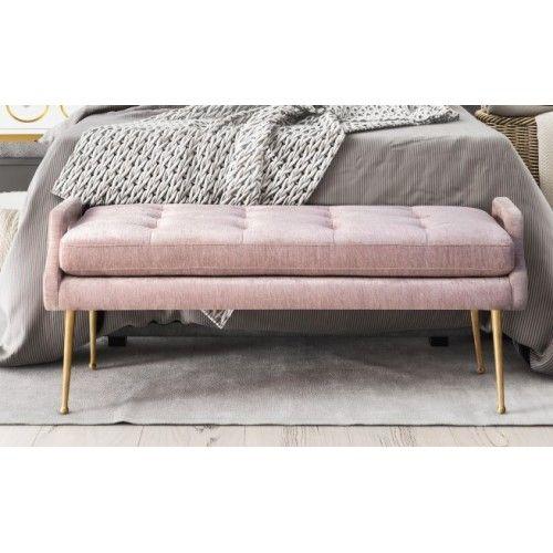 blush dusty pink velvet bench gold legs living room bedroom luxurious bedrooms art wall