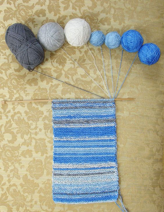 The Sky Scarf: one row a day for a year, matched to the color of the sky that day.