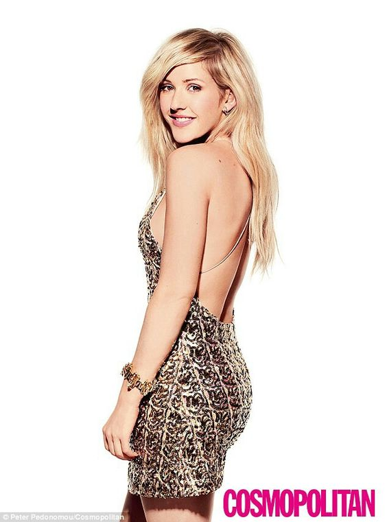 Ellie Goulding glitters in a gold sequin dress in her shoot for Cosmopolitan magazine