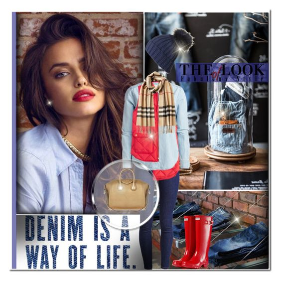"""""""Denim Is A Way Of Life!"""" by bella-danielle-mia ❤ liked on Polyvore featuring Levi's, J.Crew, Burberry, Hunter, Givenchy, jcrew, Denimondenim, hunterboots and DenimStyle"""