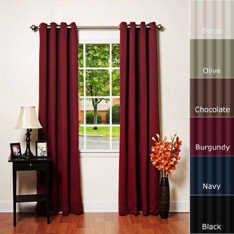 Curtains Ideas burgandy curtains : Amazon.com - Solid Grommet Top Thermal Insulated Blackout Curtain ...