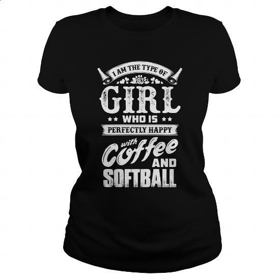 Happy with coffee and Softball- 0416 - #transesophageal echocardiogram #girls hoodies. PURCHASE NOW => https://www.sunfrog.com/LifeStyle/Happy-with-coffee-and-Softball-0416-Black-Ladies.html?id=60505