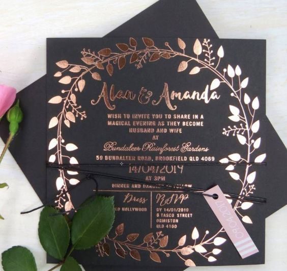 Rose Gold Foil On Black Card Stock Vintage Wedding Theme Fall Or
