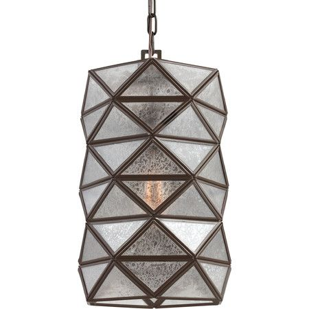 Showcasing a mercury glass design and an heirloom bronze finish, this eye-catching pendant adds a bold touch to your entryway or dining room.