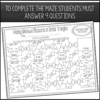 Finding Unknown Measures In Similar Triangles Maze Triangle Worksheet Maths Activities Middle School Similar Triangles Similar triangles worksheets with