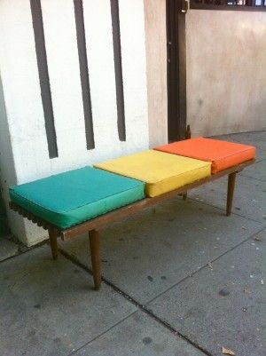 mcm bench with colourful cushions  Like the combination