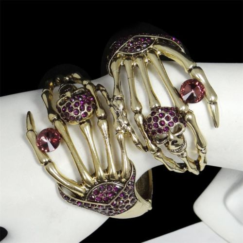 VTG Dual Skull Bracelet Cuff Bangle Rhinestone Crystal Purple Halloween