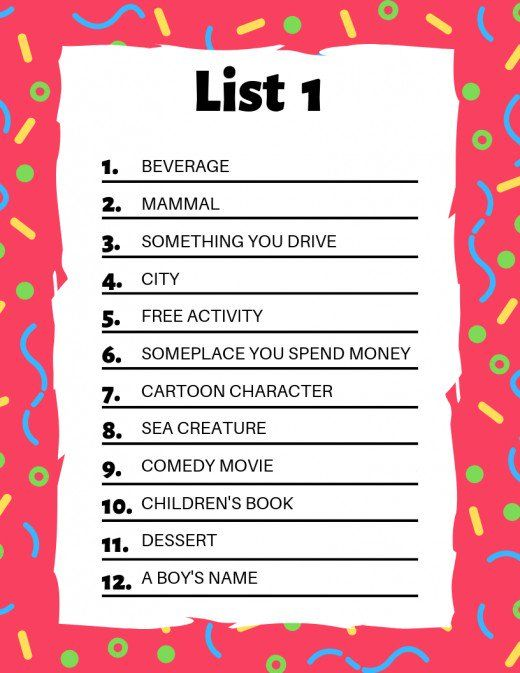 Scattergories Lists To Play With Your Friends Family Games To Play Scattergories Lists Scattergories