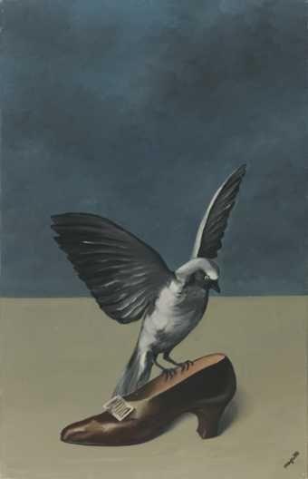 1935 1936 Dieu n'est pas un saint  Huile sur toile Signature dans le bas à droite : Magritte ; titre et date sur le revers ; mention de l'encadreur sur la fenêtre : Berger ; étiquettes d'exposition Dimensions : 67,2 x 43 Origine : Legs de Mme Irène Scutenaire-Hamoir, Bruxelles, 1996 Musées royaux des Beaux-Arts de Belgique, Bruxelles