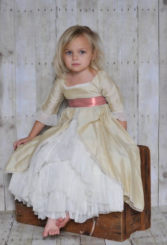 Beautiful Little Girl In Old Fashioned Style Dress