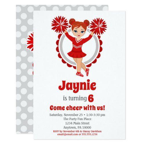 Red Cheerleader Redhead Girls Cheer Birthday Invitation Zazzle Com In 2021 Birthday Invitations Cheer Birthday Party Invitations Cheer Birthday Party