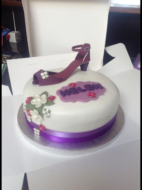Purple shoe cake