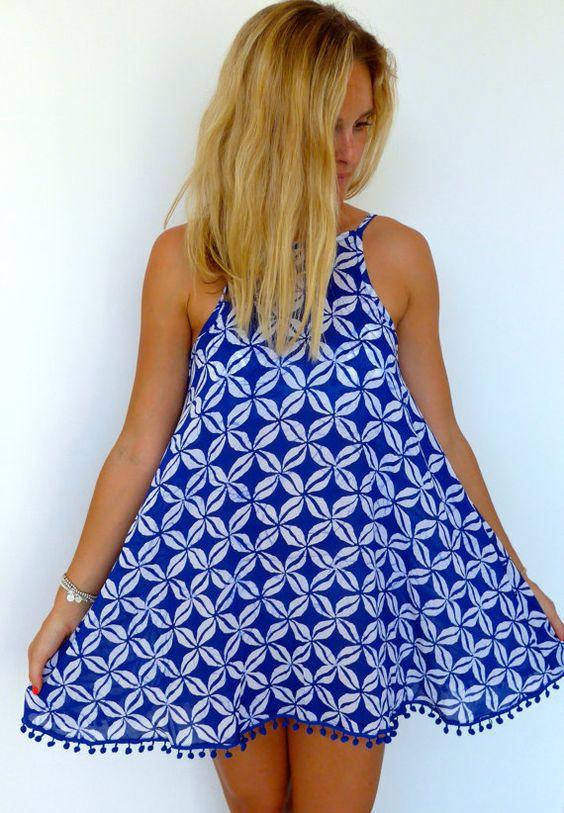Ladies Swing Dress – Cobalt Blue &amp white Coffee Bean Print with ...
