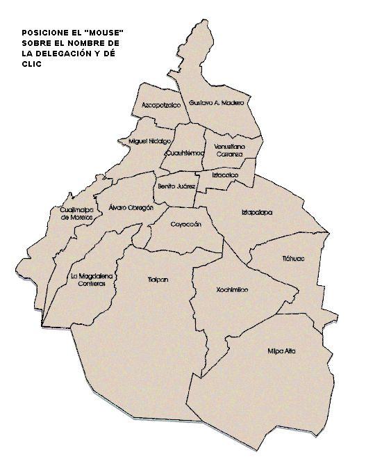 Las 16 Delegaciones del DF - Mapa