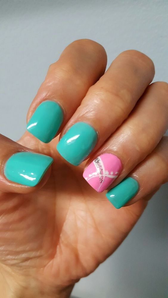 Turquoise and pink nails