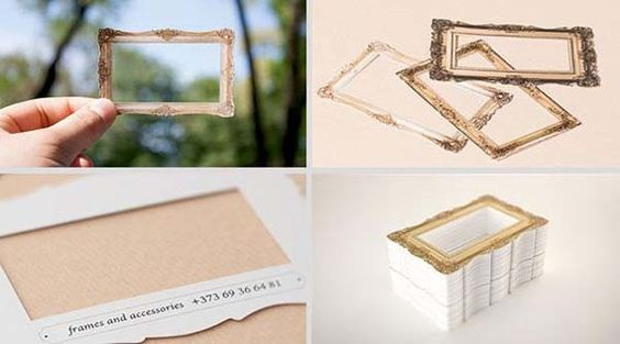 An empty picture frame business card