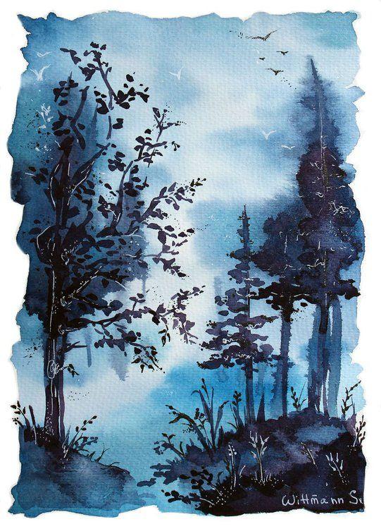 Watercolour Trees Landscape Painting Original Aquarelle Artwork Blue Color Nature View On Aquaell Paper 19 5x27 Cm Tresscape Watercolor Art 7 7 X10 6 Pejzazhi Akvarelnoe Iskusstvo Aziatskoe Iskusstvo