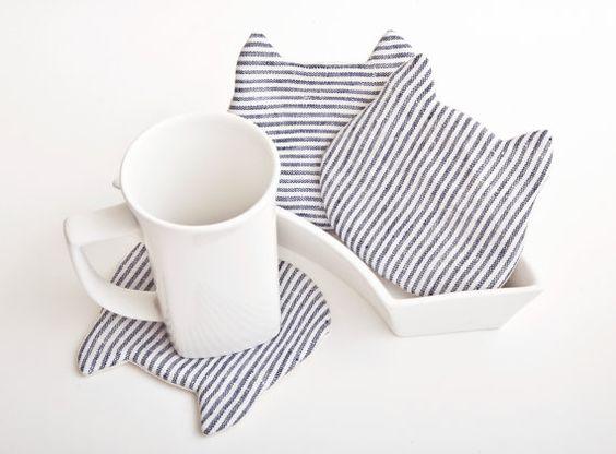 Katze-Untersetzer für Becher, 4er, Stoff Drink Coaster set