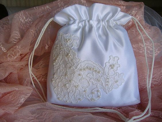 BRIDAL Drawstring Bag, Hand Beaded, Heirloom bag, WEDDING bag ...