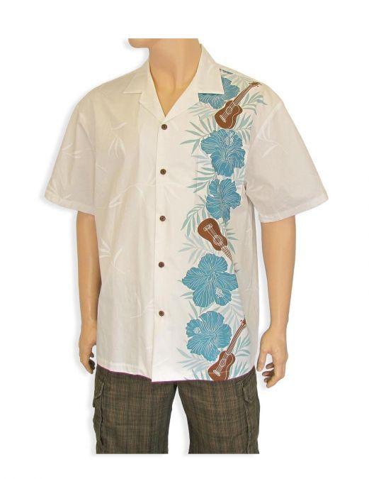 men 39 s vertical border hawaiian shirt ukulele and floral
