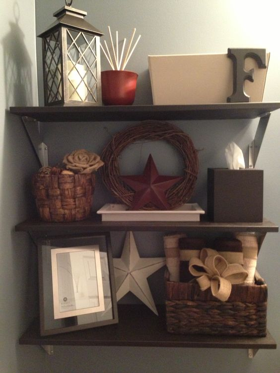 Stain Hang Ikea Shelves In The Powder Room Above The