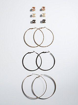 Hoop Stud Earring Set,