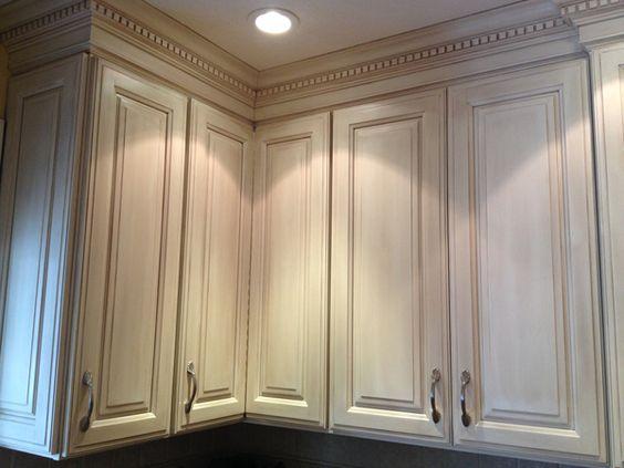 Glazed Kitchen Cabinet Makeover Here, a dark kitchen is painted ...