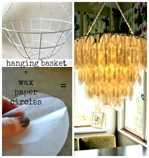 wax paper chandelier Make a capiz chandelier with wax paper natural capiz shells are hard to come by and expensive when made into lamp shades or chandeliers but you can easily replicate.