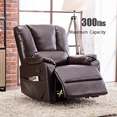 Buy Anj Swivel Rocker Recliner Chair Breathable Bonded Leather Single Sofa Chair Padded Seat Living Room Reclining Chair Home Theater Seating Brown Online Single Sofa Chair Swivel Rocker Recliner Chair