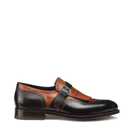 Leather single-buckle shoes with fringe / Santoni