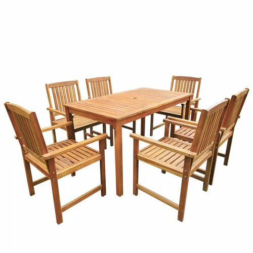 Banton 6 Seater Dining Set Sol 72 Outdoor Table Size H74 X L140 X W80cm Wooden Dining Set Garden Furniture Sets Outdoor Dining Set