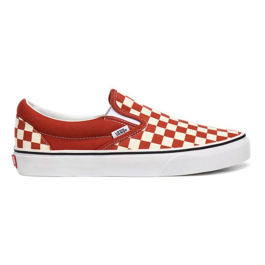 Checkerboard Classic Slip-On Shoes | Red | Vans | Slip on shoes ...