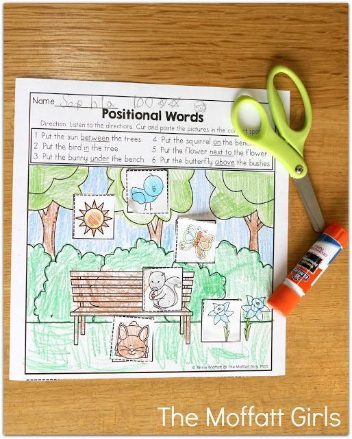 Positional Words- Cut and follow the directions for where to paste. Great Kindergarten activity!