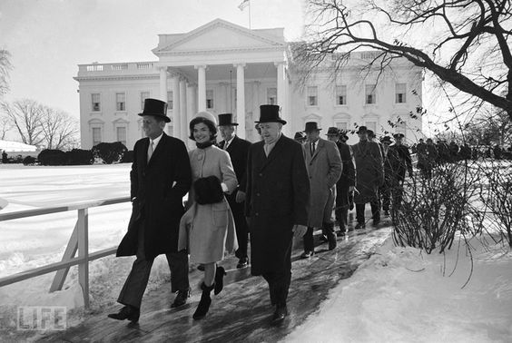 Walking Toward History - John F. Kennedy and Jackie Kennedy set out on foot from the White House to the Capitol. Courtesy of Life: