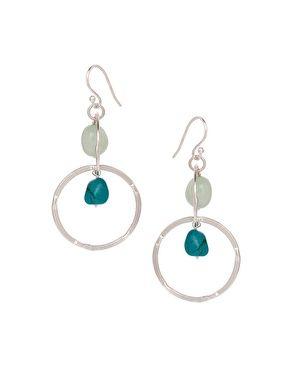 Ashiana Silver Plated Ring Drop Earrings with Semi Precious Stones