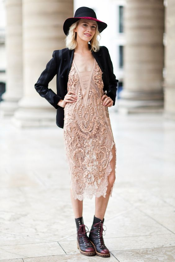 seriously rocking this feminine/masculine contrast...delicate lace dress + blazer + hat + boots