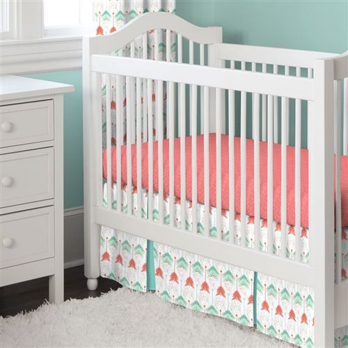 Coral and Teal Arrow Crib Skirt Two Front Pleats   Carousel Designs