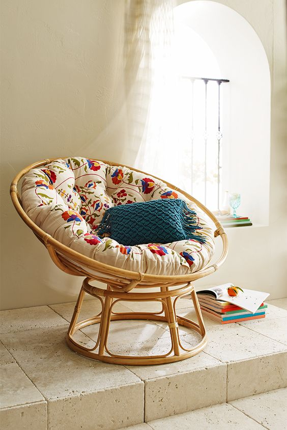 It's hard to improve on the fresh, natural, calming comfort of a Pier 1 Papasan Chair, but this soft, durable Papasan cushion in a brightly colored boho-inspired floral print puts a refreshing twist on a timeless classic.: