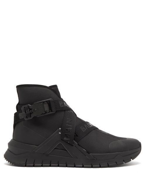 B TROOP HIGH TOP LOGO STRAP TRAINERS