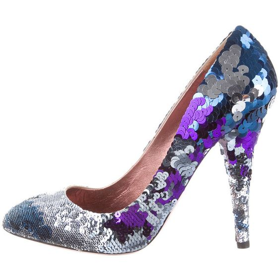 Pre-owned Miu Miu Sequin Pumps (245 AUD) ❤ liked on Polyvore featuring shoes, pumps, blue, stiletto pumps, stiletto heel shoes, sequin pumps, miu miu and pre owned shoes