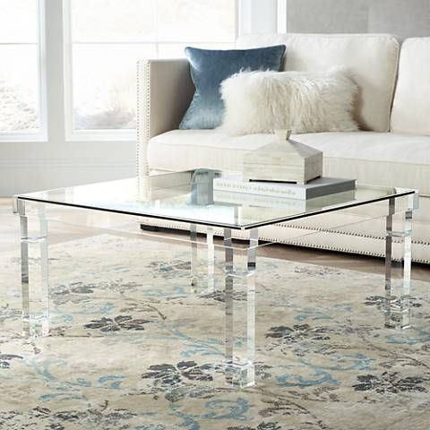Bristol 36 Square Clear Acrylic Coffee Table 1g404 Lamps Plus Acrylic Coffee Table Coffee Table Lamp Coffee Table