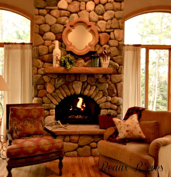 River Rock Fireplace For The Home Pinterest Nice