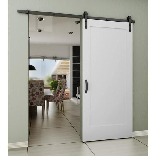 Frameport 36 In X 84 In White Prefinished 1 Panel Wood Pine Barn Door Hardware Included Lowes Com Barn Doors Sliding Indoor Barn Doors Barn Style Sliding Doors