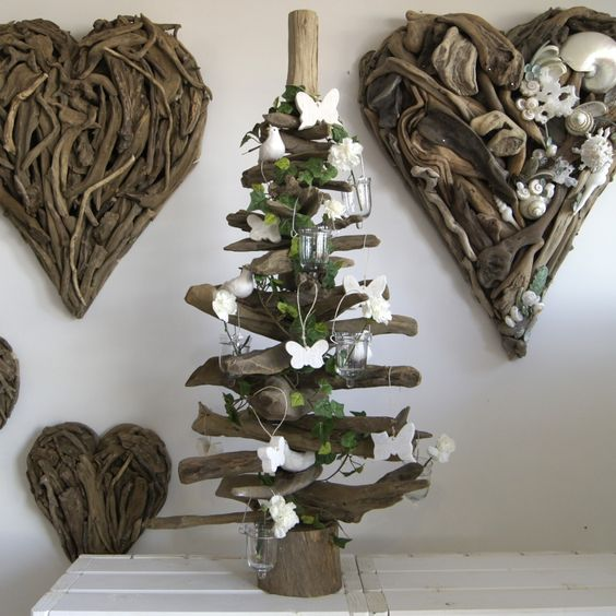 Our 3ft  Natural Driftwood Tree with a Woodland Theme http://www.dorisbrixham.co.uk/driftwood-trees.html