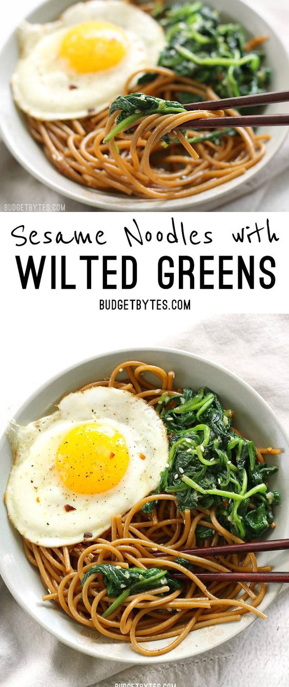 Sesame Noodles with Wilted Greens is a simple dinner with big flavor and plenty of options for customization. @budgetbytes